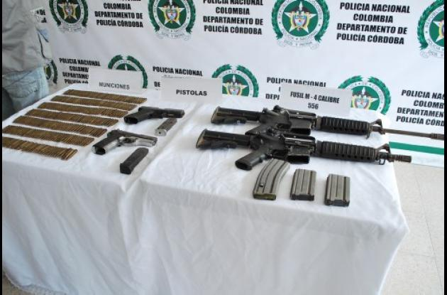 Las autoridades incautaron armas en finca La Chequera de Planeta Rica.