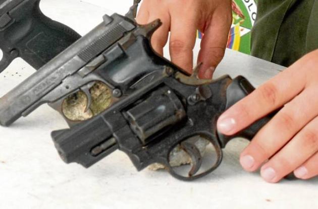 Armas de fuego incautadas en Sucre.