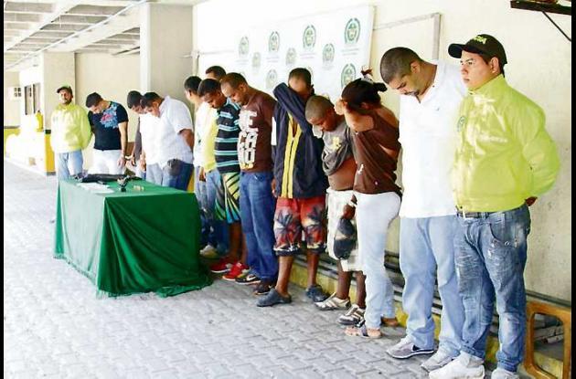 Los 15 integrantes de Los Paisas capturados por la Policía fueron asegurados por