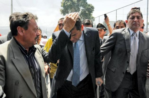 Rafael Correa fue herido durante la rebelión policial.