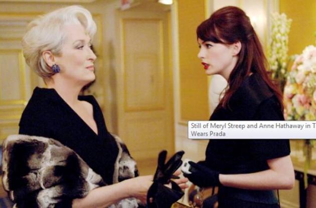 Meryl Streep como Miranda y Anne Hathaway como Andy