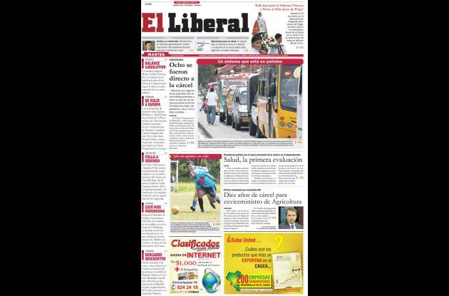 Primera página de la edición del viernes de El Liberal.