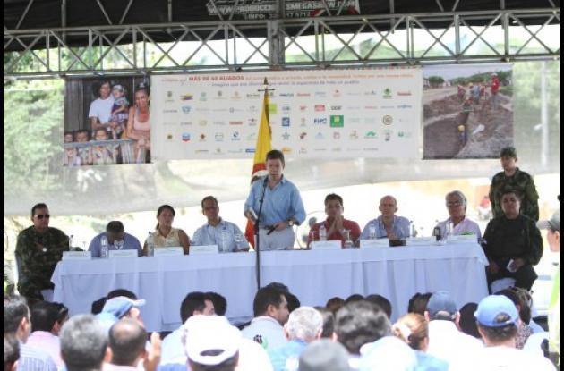 el Presidente Santos en El Salado.
