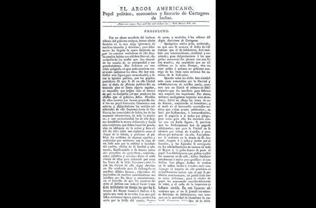 Facsímil del primer número de El Argos Americano.