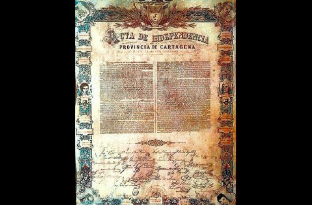 Reproducción del Acta de Independencia de Cartagena.