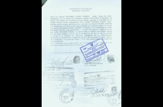 Copia del pacto político y burocrático entre Dolores Acuña y el alcalde de Mompo