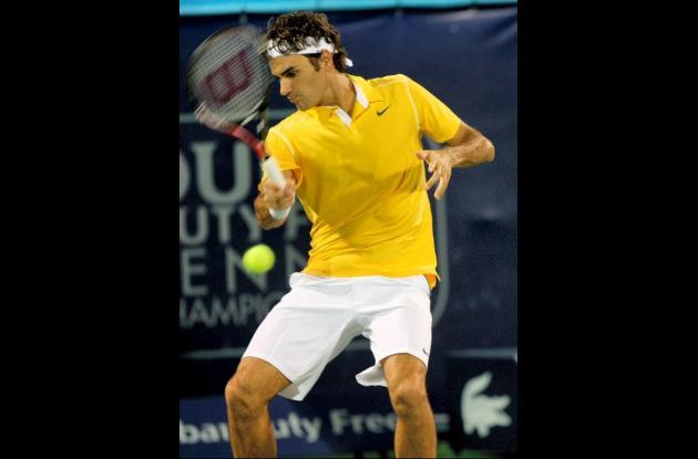 Roger Federer en el partido contra Sergiy Stakhovsky.