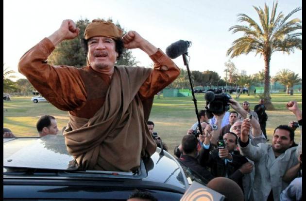 Muamar al Gadafi, presidente de Libia.