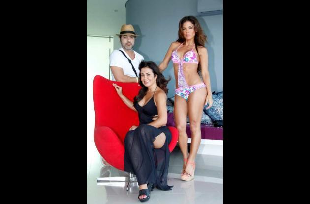 La diseñadora barranquillera Carmen Belissa, Shirley Gómez y Germán Velásquez, f