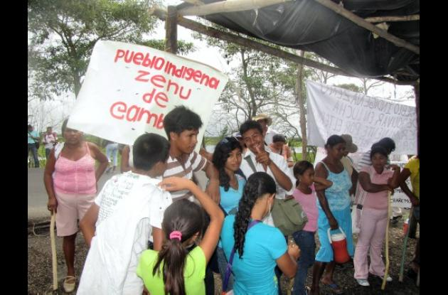 Protesta del cabildo indígena Zenú en Gambote, Arjona.