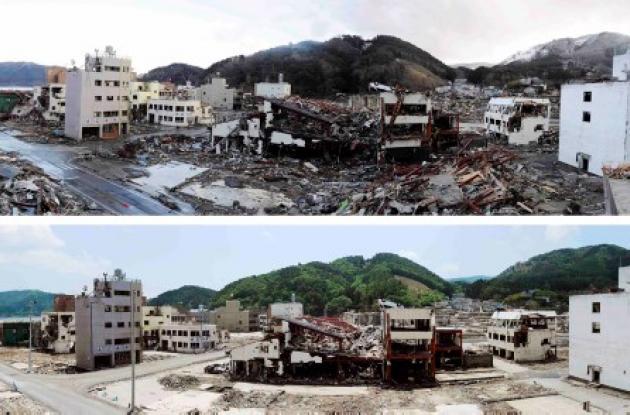 Antes y después del terremoto y tsunami de que azotó a Japón el 11 de marzo de 2
