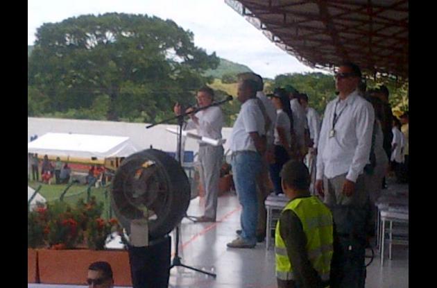 El presidente Juan Manuel Santos en el acto inaugural. juegos montemarianos