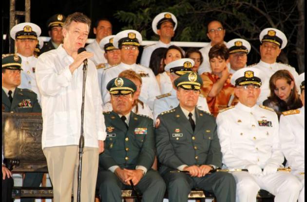 Momentos en que Juan Manuel Santos realizaba el anuncio en Cartagena.