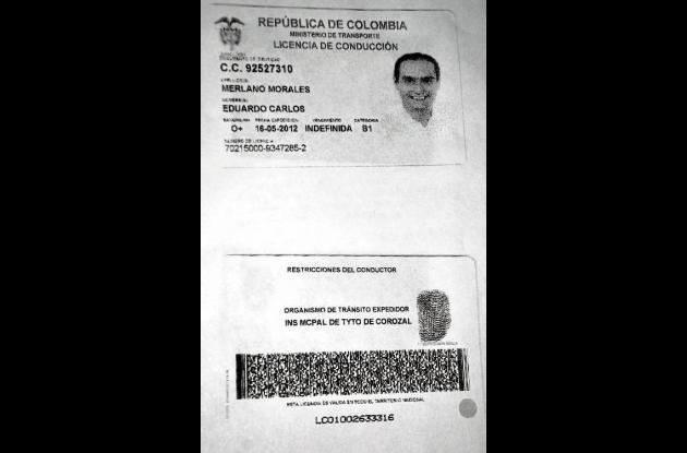 copia de la licencia de conducción del senador Eduardo Merlano