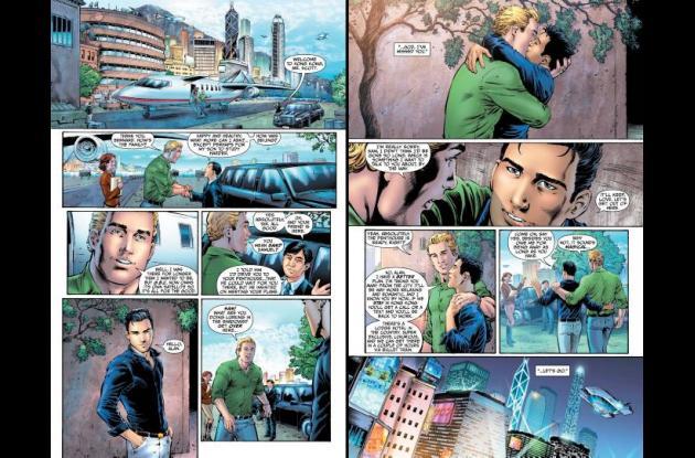 """Páginas del segundo número de """"Earth 2"""" de la historieta Linterna Verde."""