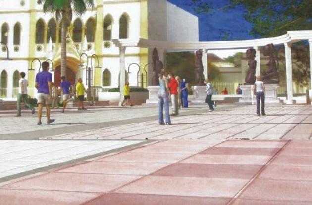 Maqueta del parque central del municipio de Turbaco.