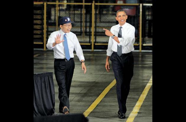 Li Myung-bak y Barack Obama