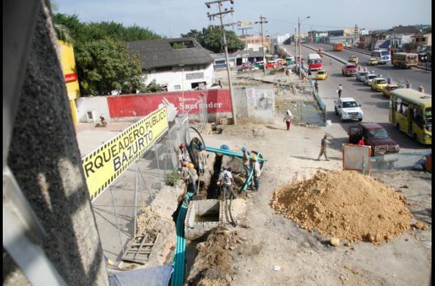 Obras del tramo 5A de Transcaribe en Bazurto.