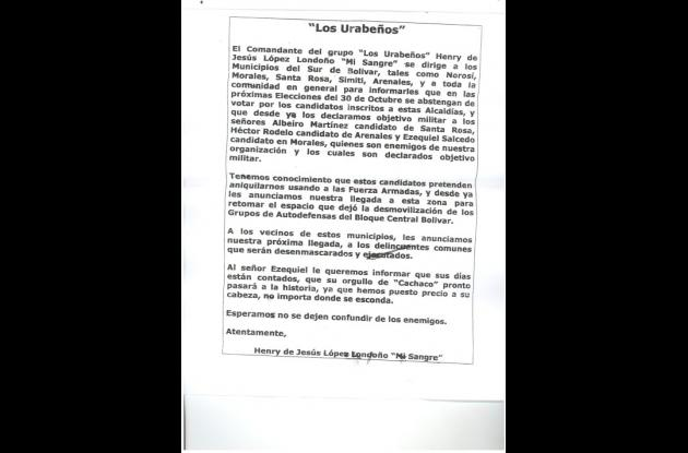"""Panfleto que aparece firmado por Henry López, alias """"Mi Sangre""""."""