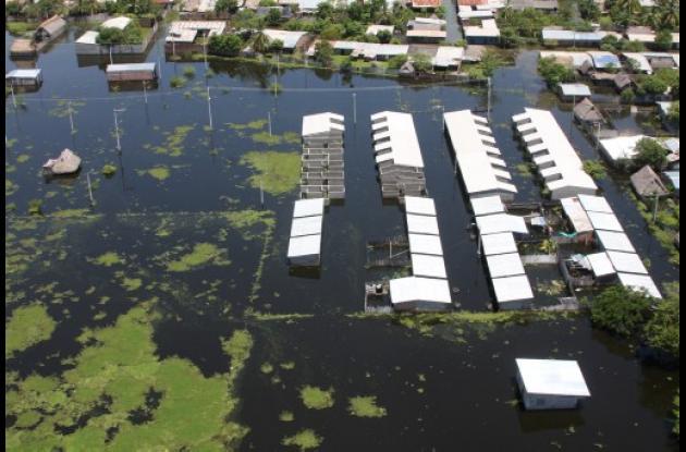 Panorámica aérea de las inundaciones en Morales, sur de Bolívar.