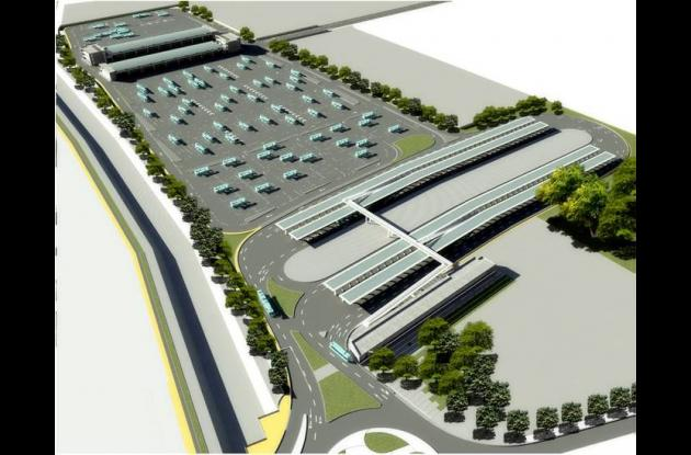 Maqueta del Portal, Patio y Taller del Sistema Integrado de Transporte Masivo Tr