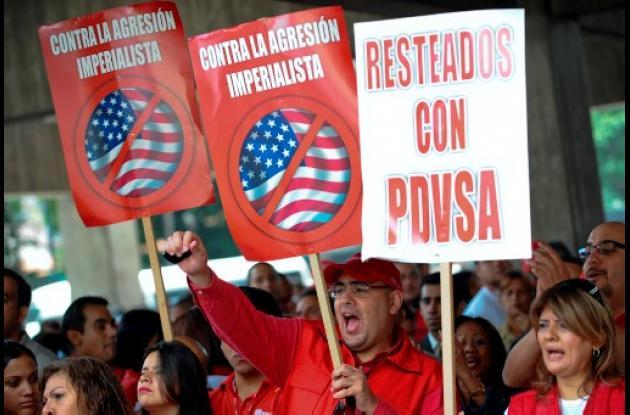 Trabajadores de PDVSA protesta por sanción de Estados Unidos.