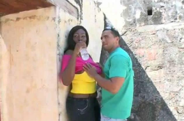 Actores de video porno en el Castllo de San Felipe.
