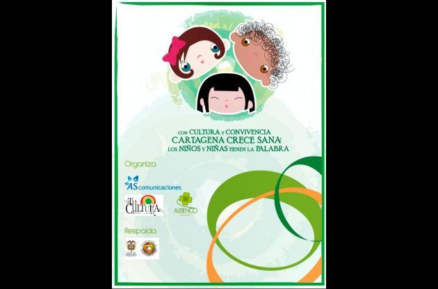 pendón 'Con Cultura y Convivencia Cartagena crece sana: los niños tiene la palab