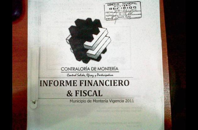 Facsímile del informe financiero presentado por el contralor de Montería.