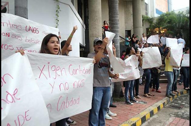 Estudiantes de la Universidad del Sinú protestaron