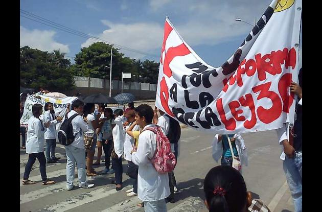 Protesta estudiantil de la Universidad de Cartagena