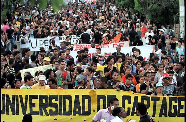 La Universidad de Cartagena también acogió este paro nacional.