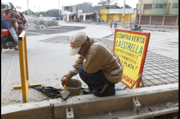 Trabajos de Transcaribe en Bazurto