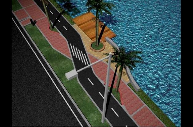 Paseo peatonal y ciclovía, en la Quinta Avenida de Manga.