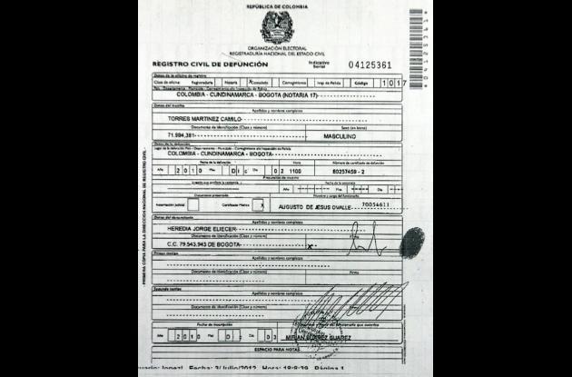 Acta de defunción de alias