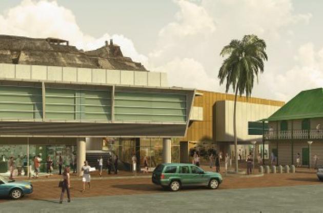 Vista de la fachada occidental de San Lázaro Distrito Artes