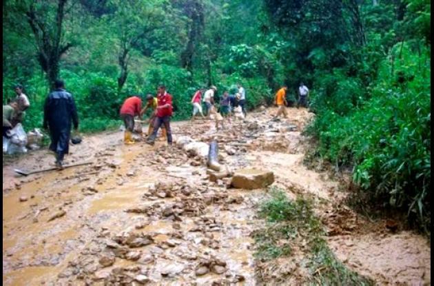 Deslizamiento de tierra en Rionegro, Santander.