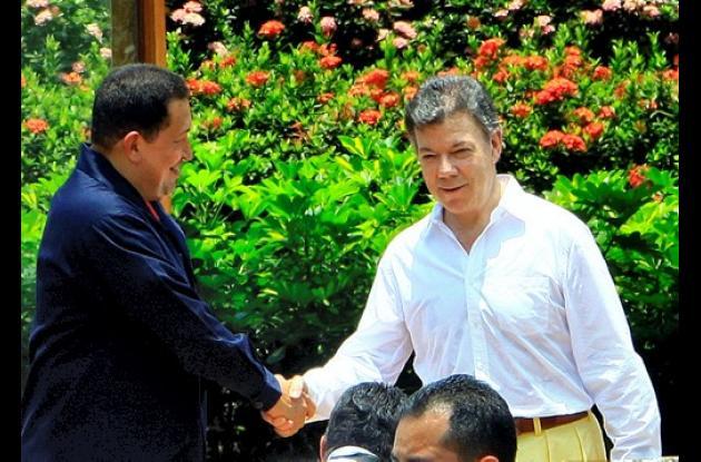 Santos acaba de recibir la visita de Hugo Chávez,