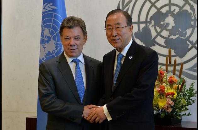 Juan Manuel Santos y Ban Ki- Moon.