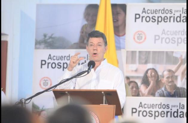 El presidente Juan Manuel Santos en el Acuerdo para la Prosperidad No. 36 que se