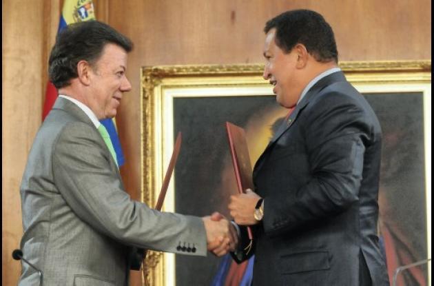 Juan Manuel Santos y Hugo Chávez, presidentes de Colombia y Venezuela