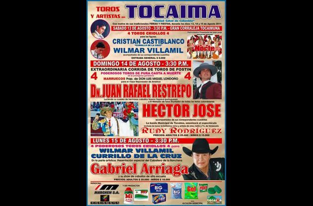 El cartel de la tauromaquia en Tocaima