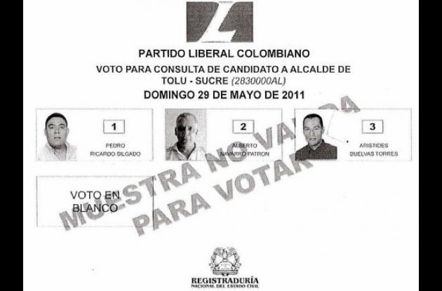 Tarjetón de candidatos de la consulta del partido Liberal