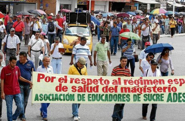 Los docentes de diferentes municipios llegaron a Sincelejo