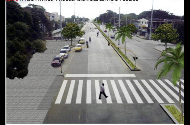 Posible solución para cruce de peatones en la Avenida del Bosque