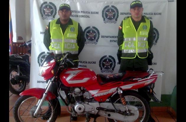 Motocicleta recuperada que había sido hurtada en Corozal.