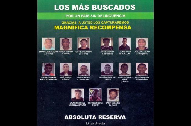 Esta es la lista de los delincuentes más buscados en el departamento de Sucre, l