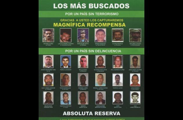 Entre los más buscados por las autoridades en la Región caribe figuran 24 person