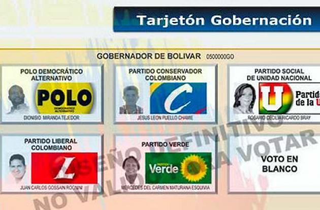 Tarjetón Elecciones Bolívar 2011