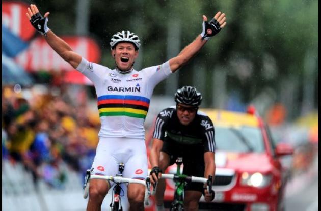 Thor Hushovd (Garmin) ganó este martes de la etapa 16 del Tour de Francia.
